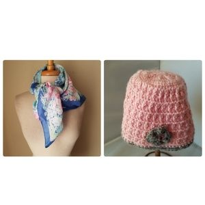 Accessories - Vintage Spring Pastel Floral Scarf Wrap & Beanie